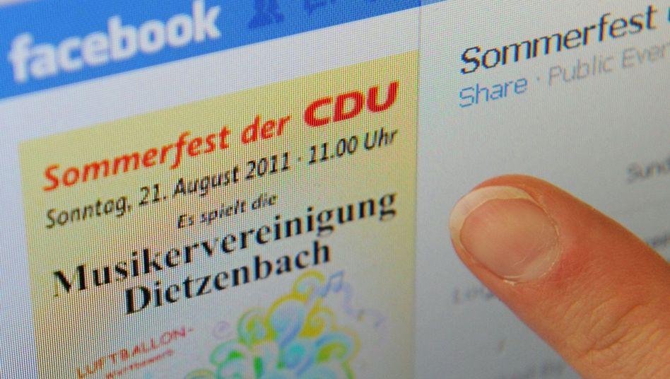 Screenshot der gefakten Facebook-Seite der CDU Dietzenbach: Mehr Gäste als Wähler?