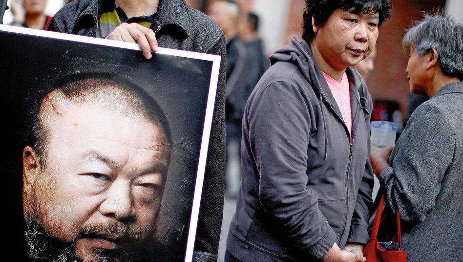 Ai-Unterstützer bei einer Demonstration in Shanghai