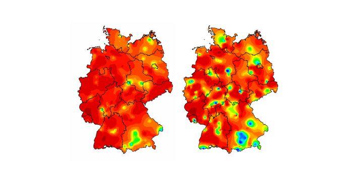"""Grippe in Kalenderwoche 8 (l.) und 9 (r.): Grün steht für """"geringfügig bis moderat erhöhte Aktivität"""", Orange für """"deutlich"""", Rot für """"stark"""""""
