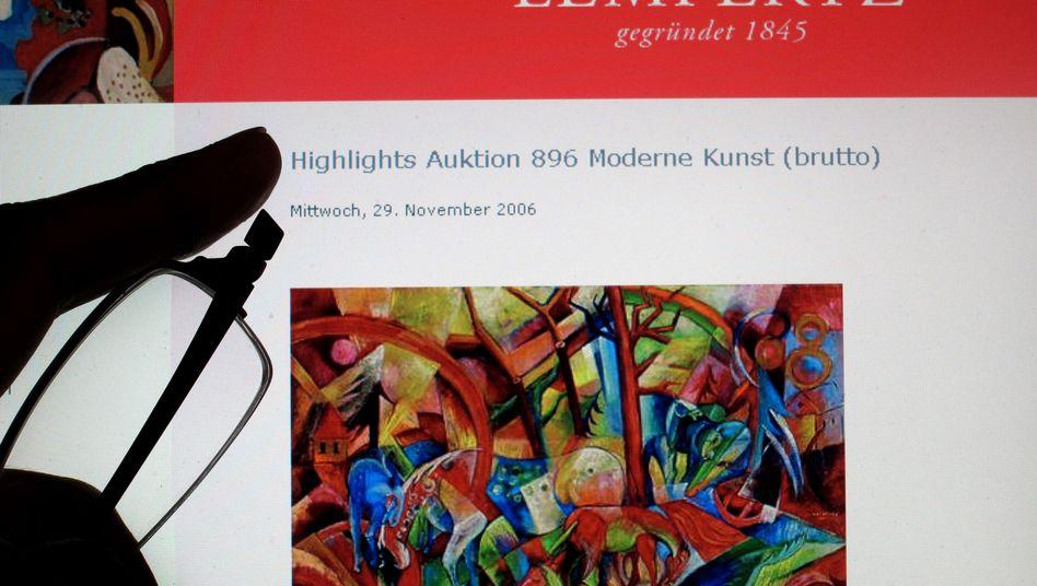 """Vorgebliches Campendonk-Werk """"Rotes Bild mit Pferden"""" (auf der Internetseite des Auktionshauses Lempertz): Fälschung für 2,4 Millionen Euro versteigert"""