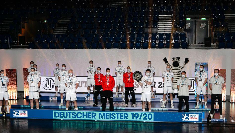 Die Spieler des THW Kiel bei der Meisterehrung im Juni