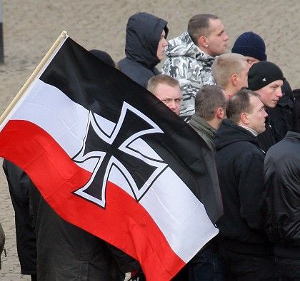 Right-wing extremists marching in Dresden on Feb. 14.