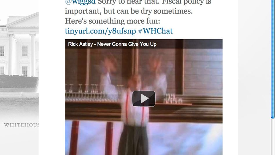 Twitter-Account des Weißen Hauses: Rick Astley singt zurück