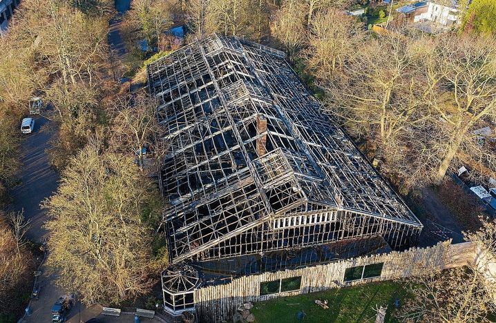 The burned out Great Ape House at the Krefeld Zoo after the Dec. 31 fire.