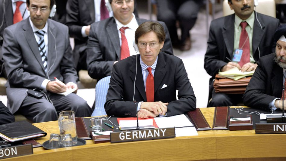 Germany's United Nations Ambassador Peter Wittig abstaining from the Libya resolution vote last Thursday.