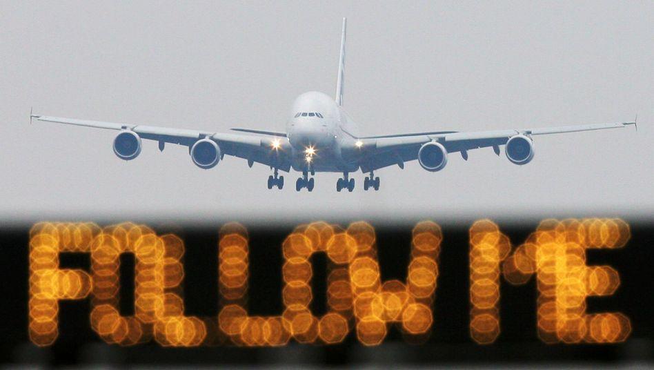 Airbus A380 im Landeanflug: Materialermüdungen in einem Bereich der Flügel