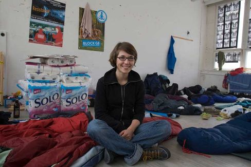 Block G8 spokesperson Lea Voigt poses in her accommodation in the Convergence Center.