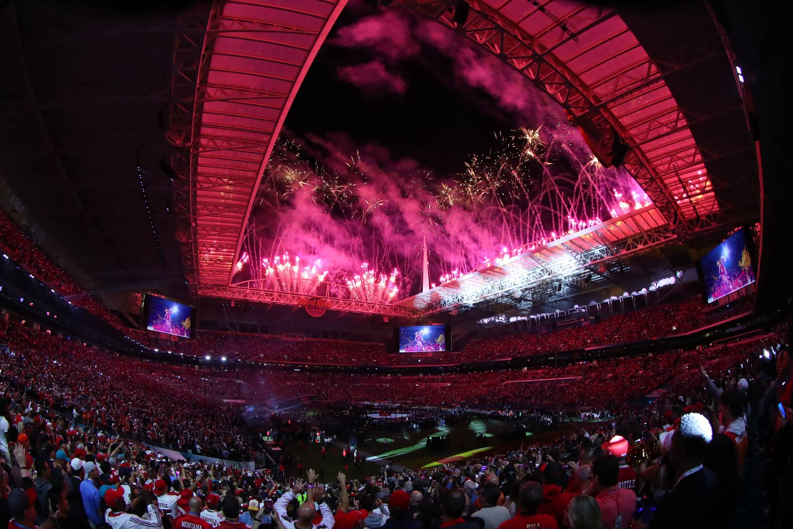 MIAMI GARDENS, FL - FEBRUARY 02: A general view of the fireworks and the Hard Rock Stadium during the Super Bowl Halfti