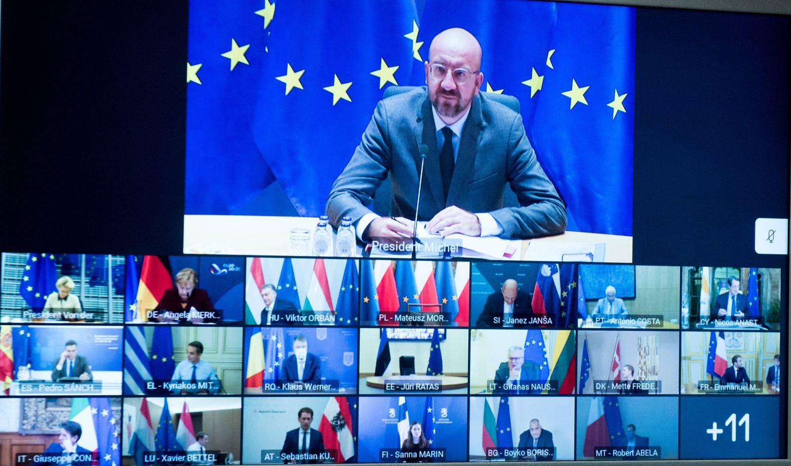 (201120) -- BRUSSELS, Nov. 20, 2020 -- Photo taken on Nov. 19, 2020 in Brussels, Belgium shows top (EU) officials attend