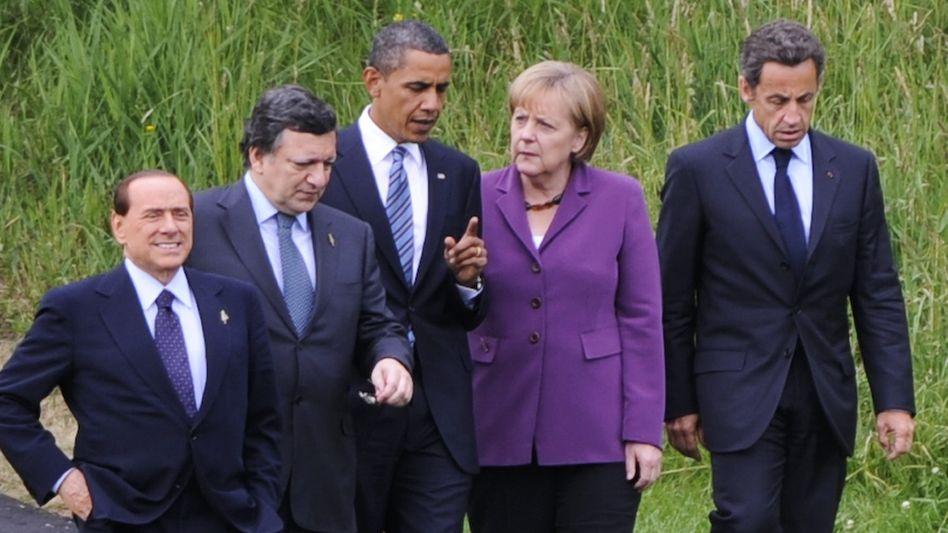 US-Präsident Obama mit europäischen Spitzenpolitikern: Handeln statt reden