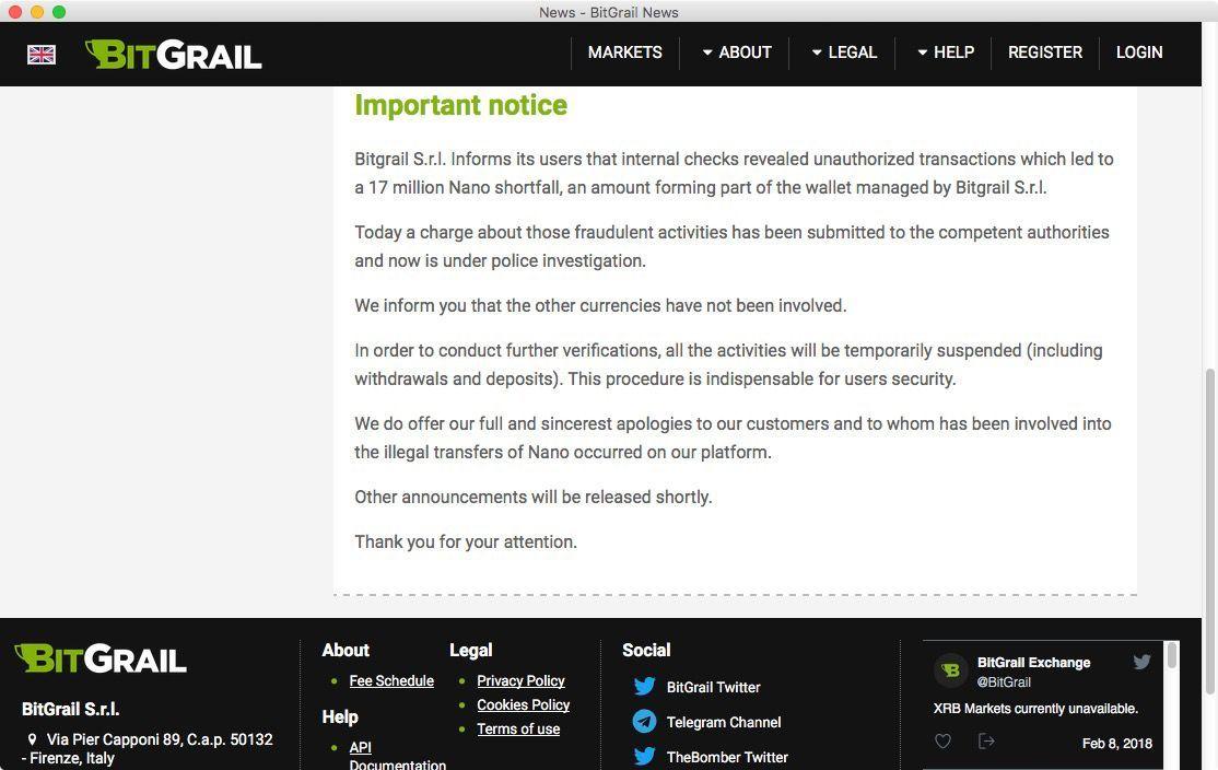 NUR ALS ZITAT Screenshot bitgrail Betrug