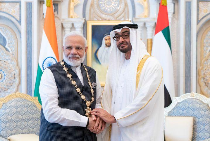 Regierungschefs Modi und Mohammed bin Zayed: Auszeichnung in Abu Dhabi