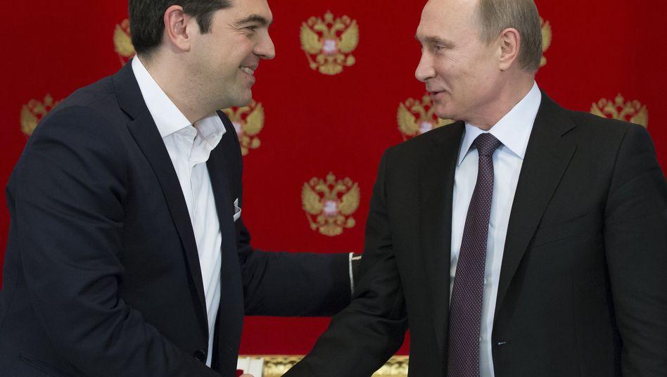 Griechischer Premier Tsipras, russischer Präsident Putin am 8. April in Moskau: Kommt es zu einem Abkommen?