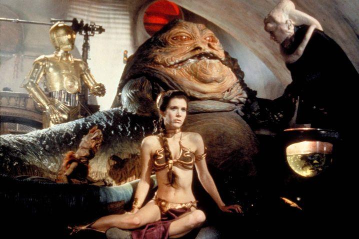 Prinzessin Leia und Jabba the Hutt in Episode VI