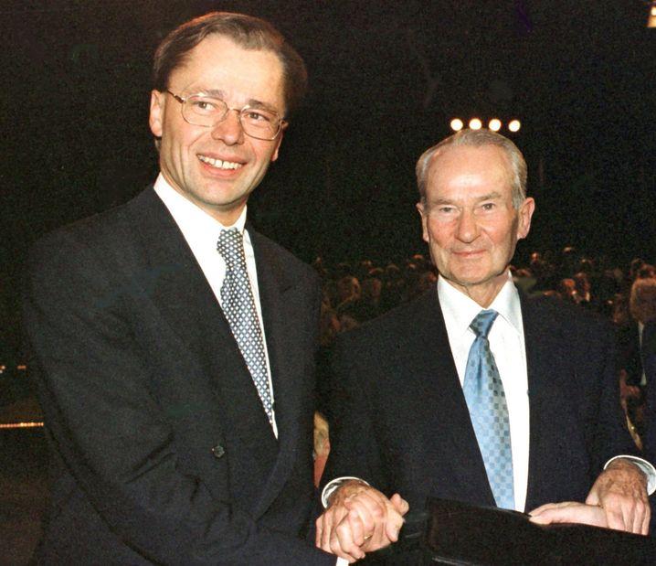 Middelhoff und Reinhard Mohn (r.): Turbo-Manager und Familienpatriarch