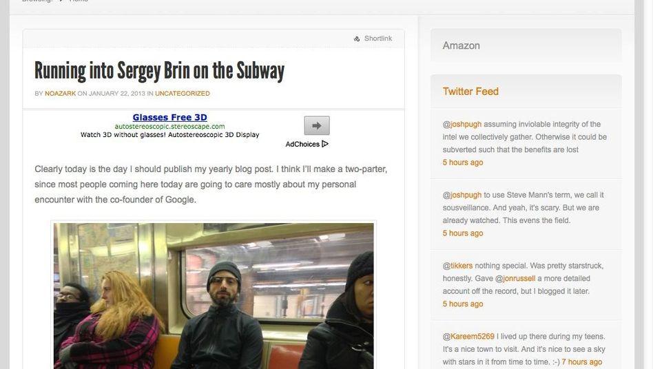 Mit Sportjacke, Plastiktüte und Computerbrille: Google-Milliardär Sergey Brin in der New Yorker U-Bahn