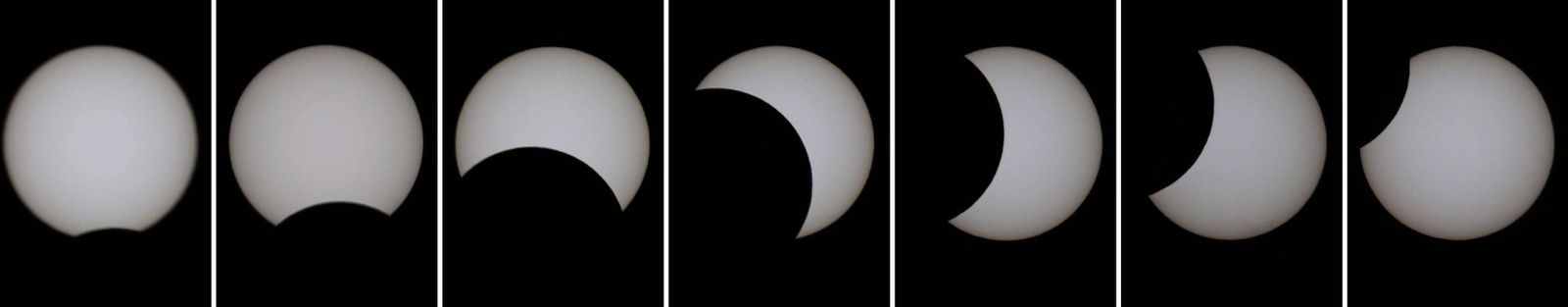 Partial solar eclipse observed in Japan Composite photo shows a partial solar eclipse seen from Fukuoka, southwestern J