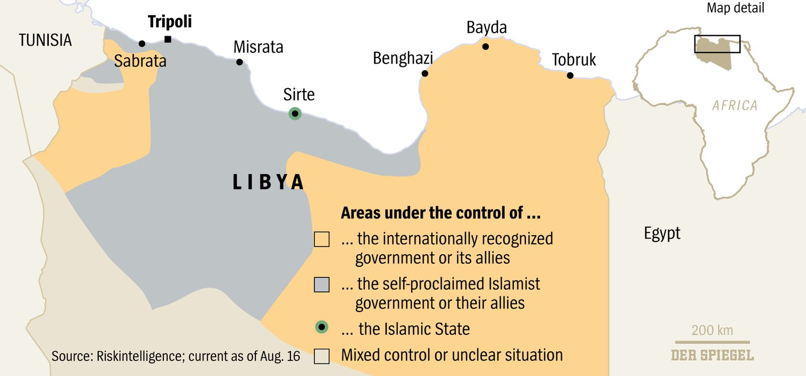 DER SPIEGEL Seite 80 / 34/2016 Areas under control of