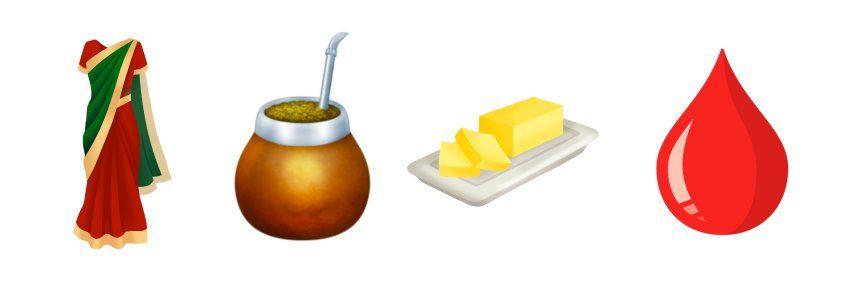 Neue Emoji-Kandidaten: Sari, Mate, Butter und Bluttropfen