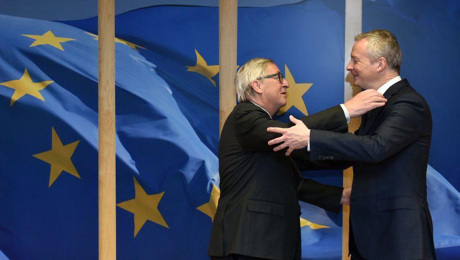 EU-Kommissionschef Juncker, Frankreichs Wirtschaftsminister Le Maire