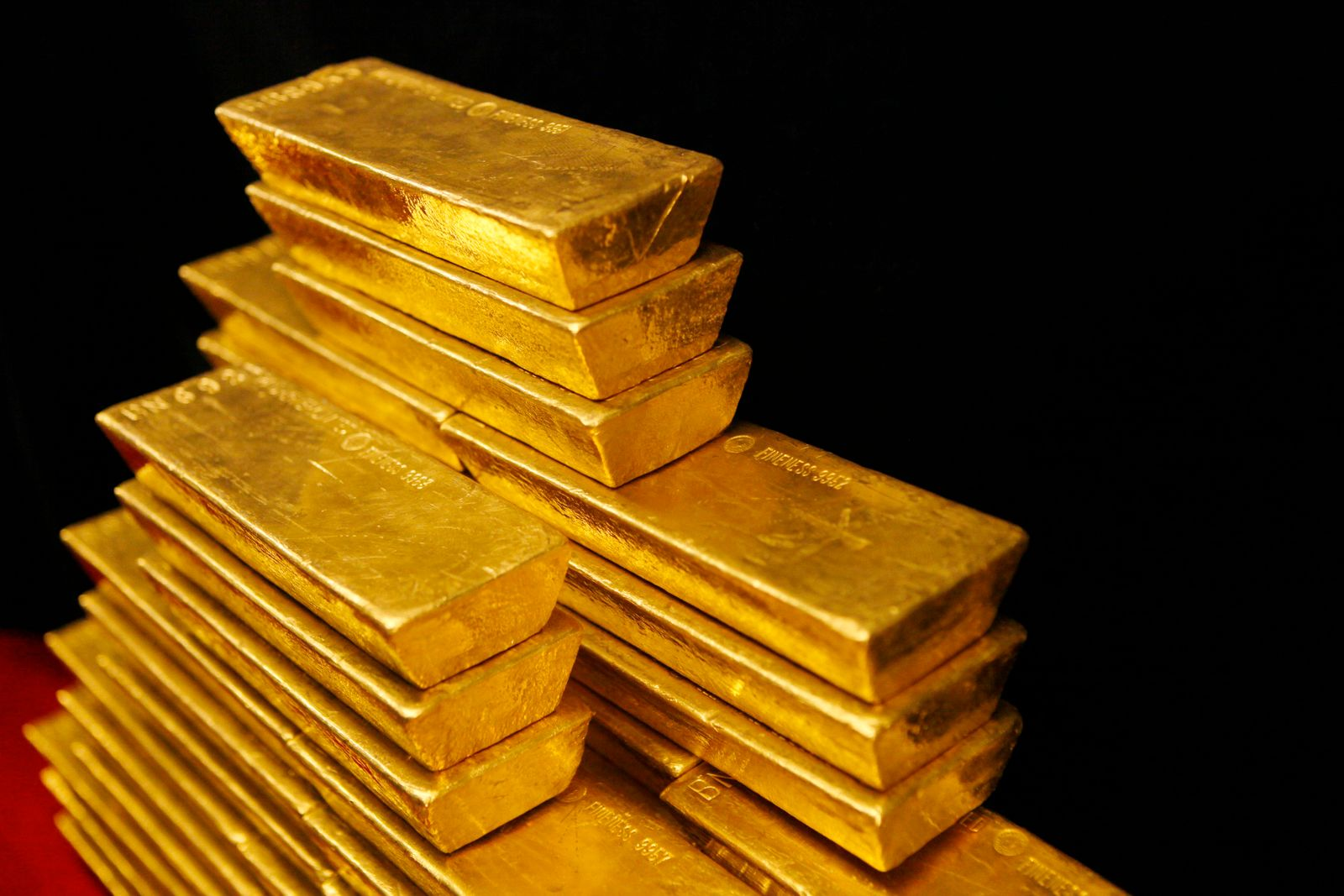 File photo of gold bars are seen in this picture illustration taken at the Czech National Bank in Prague