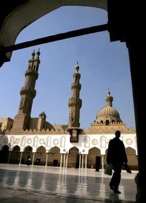 An Egyptian youth walks inside al-Azhar Mosque in Cairo.