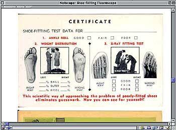 Ergebnis einer Fluoroskop-Untersuchung: Der Schuh passt