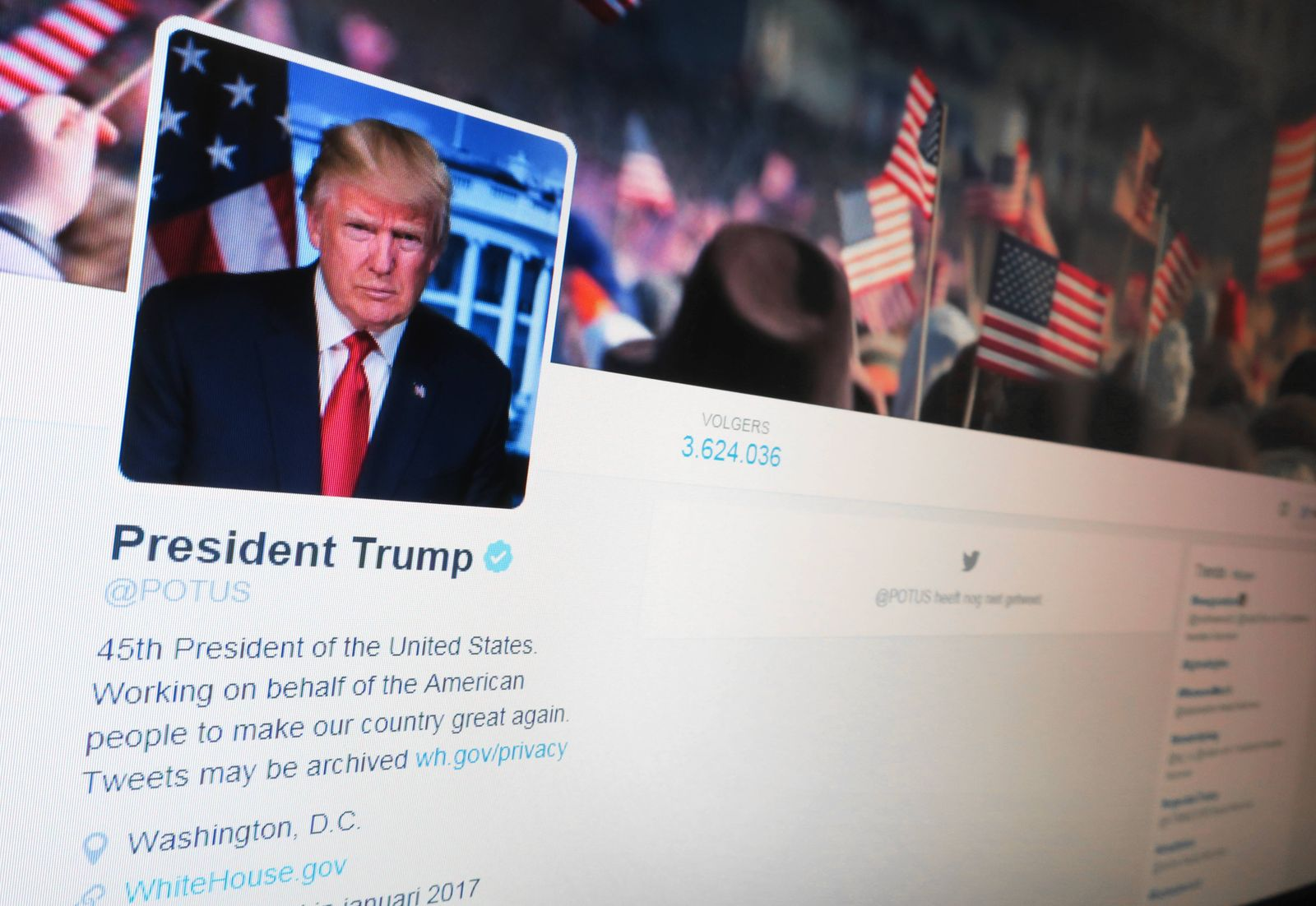 Illustration picture shows the empty Twitter account @potus, the official twitter account reserved for the sitting US P