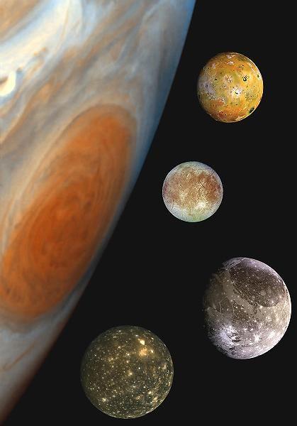 Jupiter und seine Monde Io, Europa, Ganymed und Kallisto (von oben, Fotomontage): Reibung als Wärmequelle
