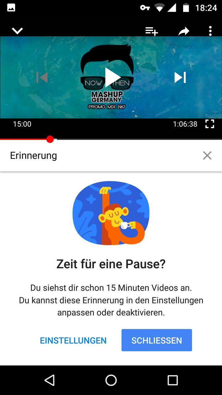 Hinweis von YouTube