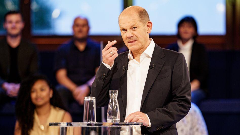 Olaf Scholz beim ARD-Auftritt in Lübeck