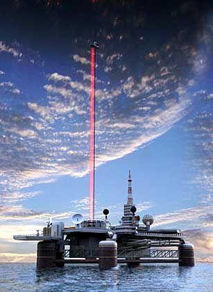 Lift ins All (Zeichnung): Laserstrahl liefert die Energie