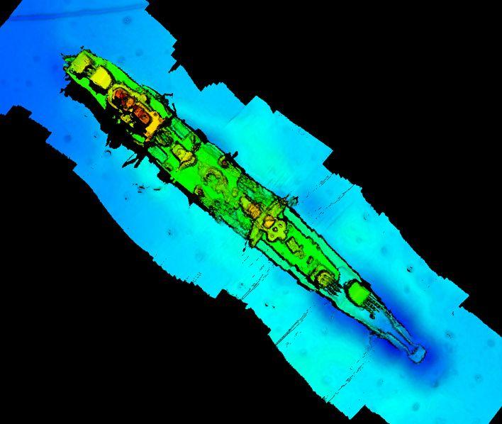 Eine Sonaraufnahme zeigt das Wrack auf dem Meeresgrund