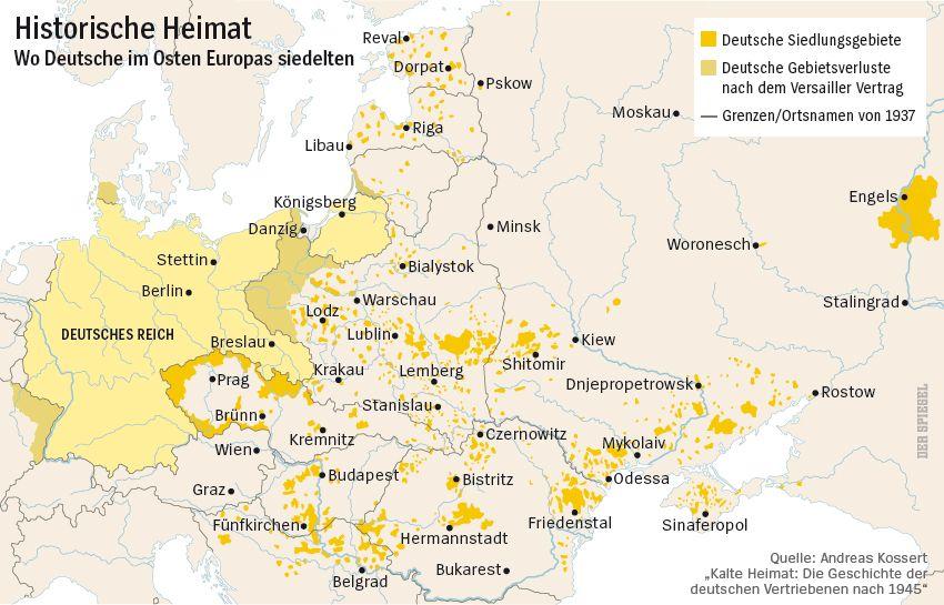 Karte - Deutsche Siedlungsgebiete im Osten Europas