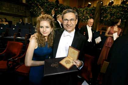 Nobel Literature Prizewinner Orhan Pamuk, right, of Turkey, poses with his daughter Ruya after the ceremony his Nobel Prize in Stockholm (2006).