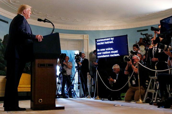 Tonlos und flach: US-Präsident Trump bei seiner Rede am Montag