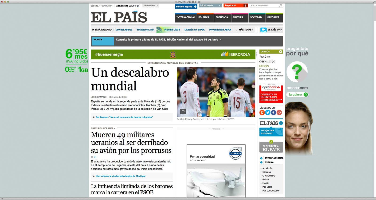 EINMALIGE VERWENDUNG NUR ALS ZITAT Screenshot/ El Pais