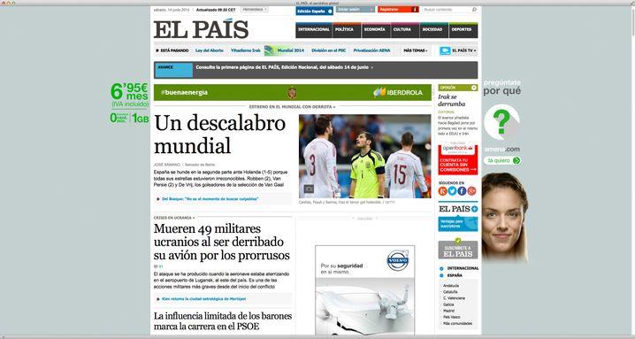 """Startseite von """"El País"""": Kritik an der spanischen Nationalelf"""