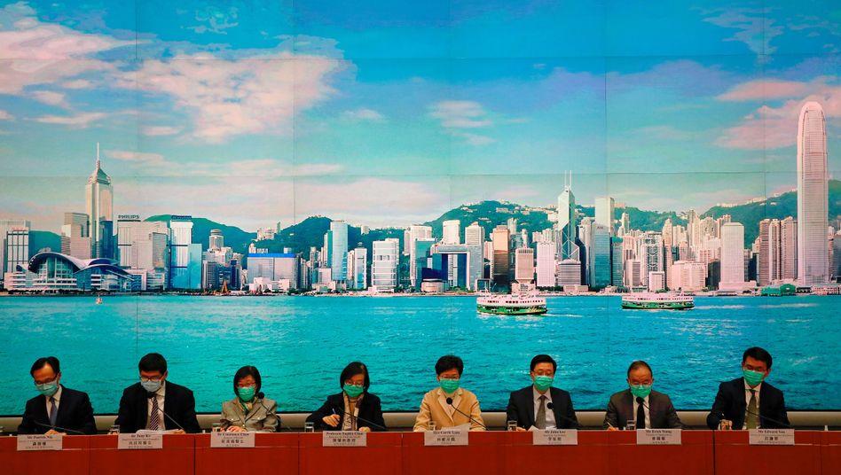 Regierungspressekonferenz in Hongkong