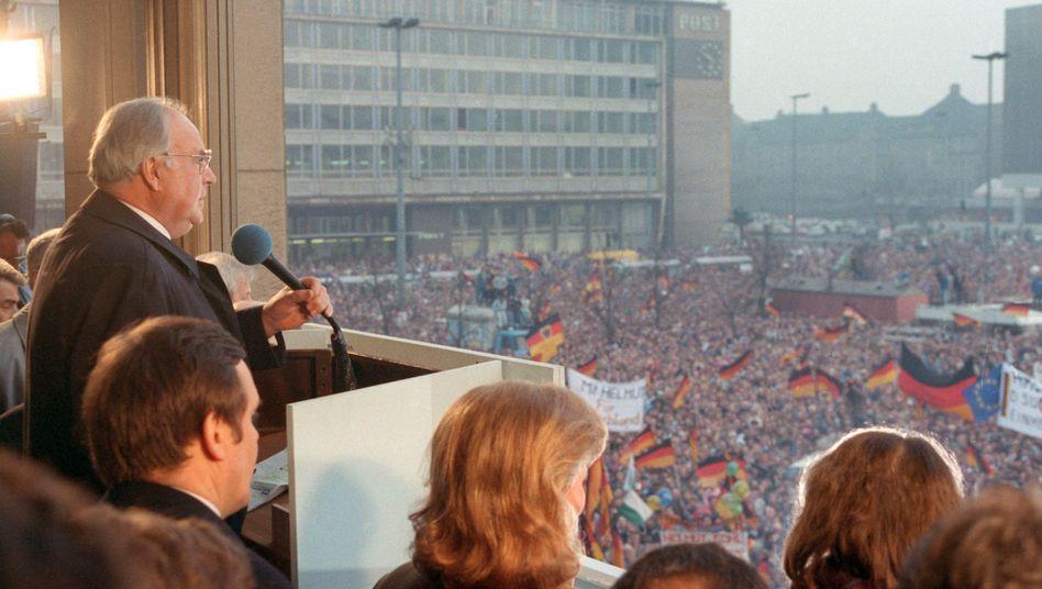Helmut Kohl 1990 in Leipzig