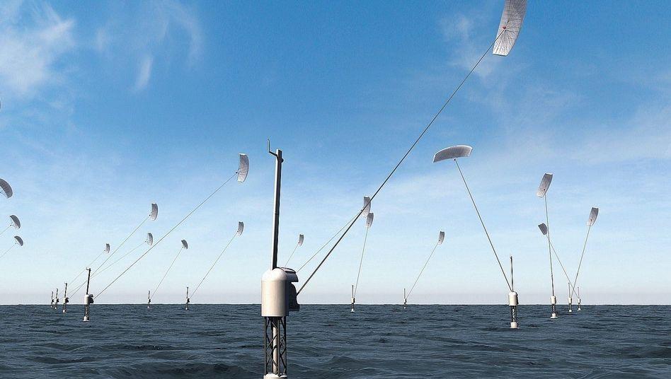 Flugwindkraftanlage der Firma SkySails (Simulation): Monströse Drachen, filigrane Konstrukte