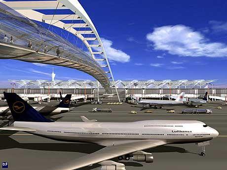 Diese Computersimulation zeigt den Außenbereich des geplanten Großflughafens Berlin-Schönefeld