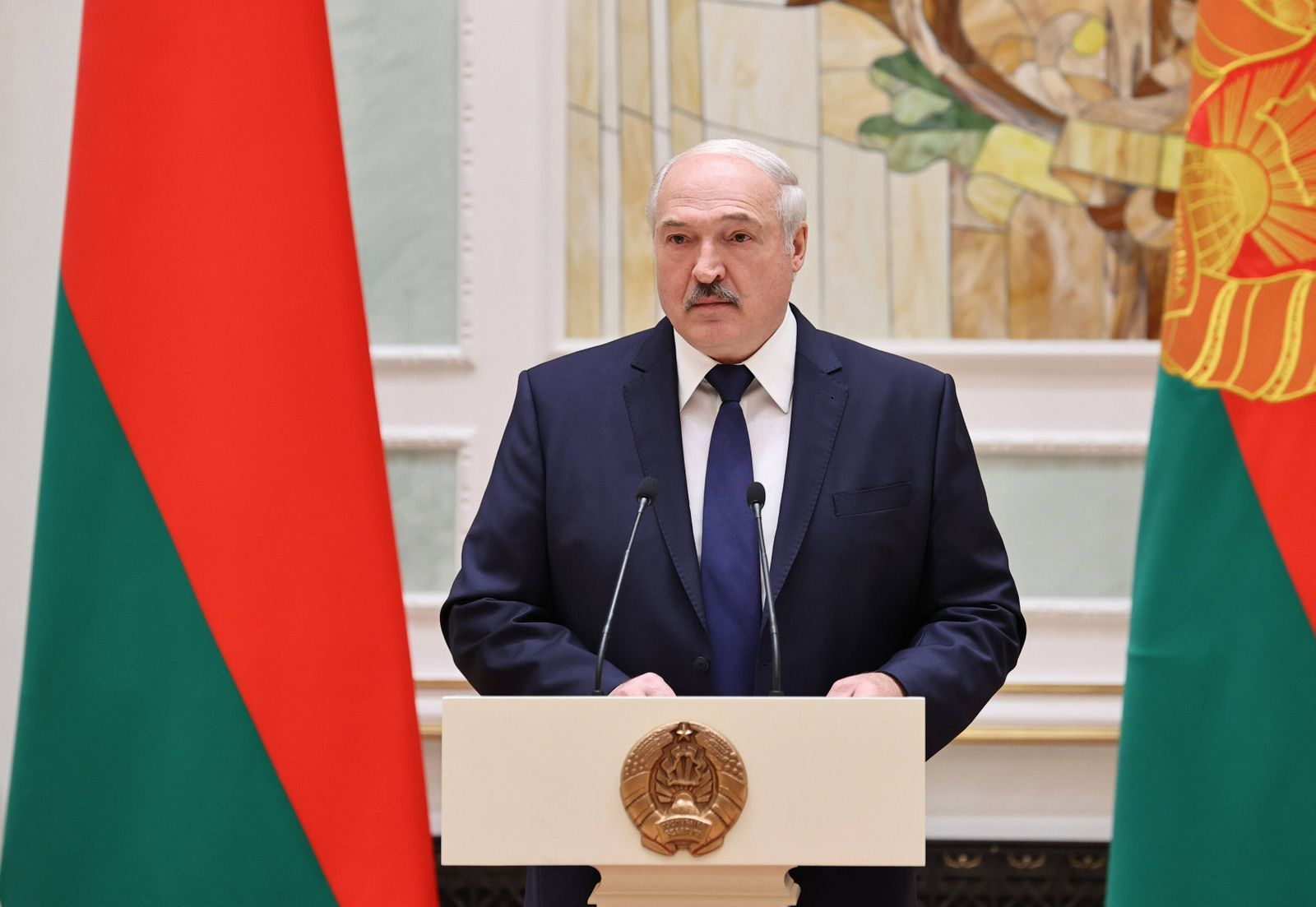 MINSK, BELARUS - OCTOBER 30, 2020: Belarus President Alexander Lukashenko during an introduction ceremony for the newly