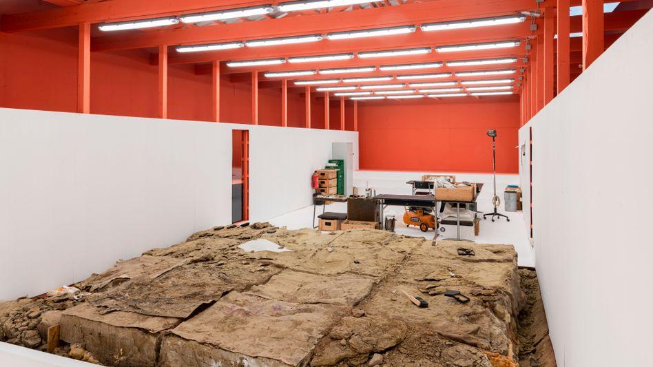Der Ausstellungspavillon in Frankfurt darf wegen der Corona-Regeln nur von 18 Gästen gleichzeitig betreten werden
