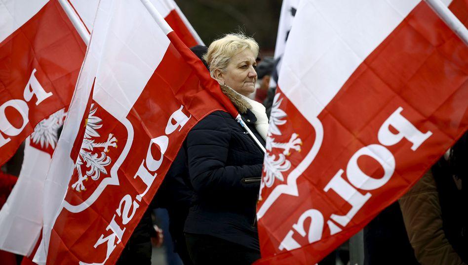 Demonstrantin in Warschau