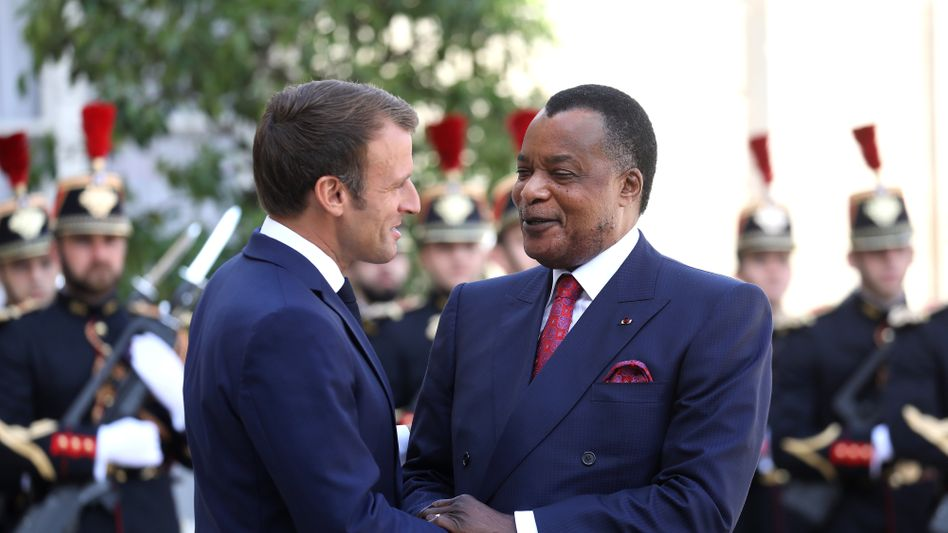 Präsident Macron mit Amtskollege Sassou-Nguesso: 2019 in Paris