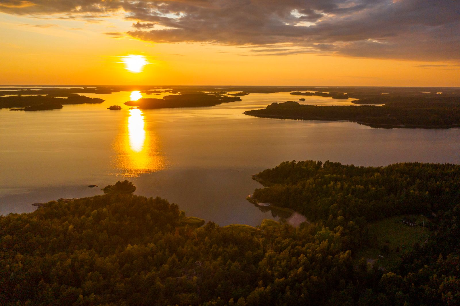 Landscape of the region of Southwest Finland, Finland Aerial view of the region of Southwest Finland where there are tho