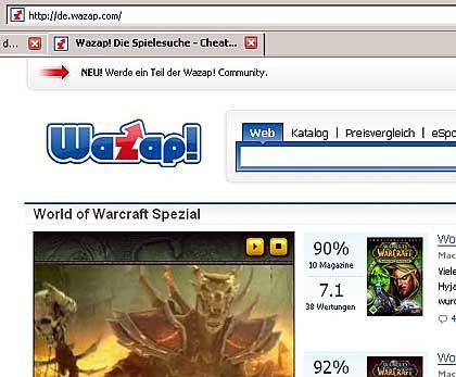 Wazap.de: Spezial-Suchmaschine für Computerspiele