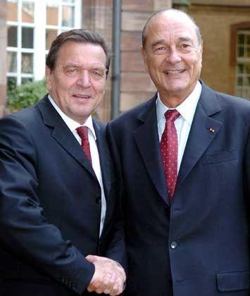 Schröder und Chirac bei ihrem Arbeitstreffen in Straßburg