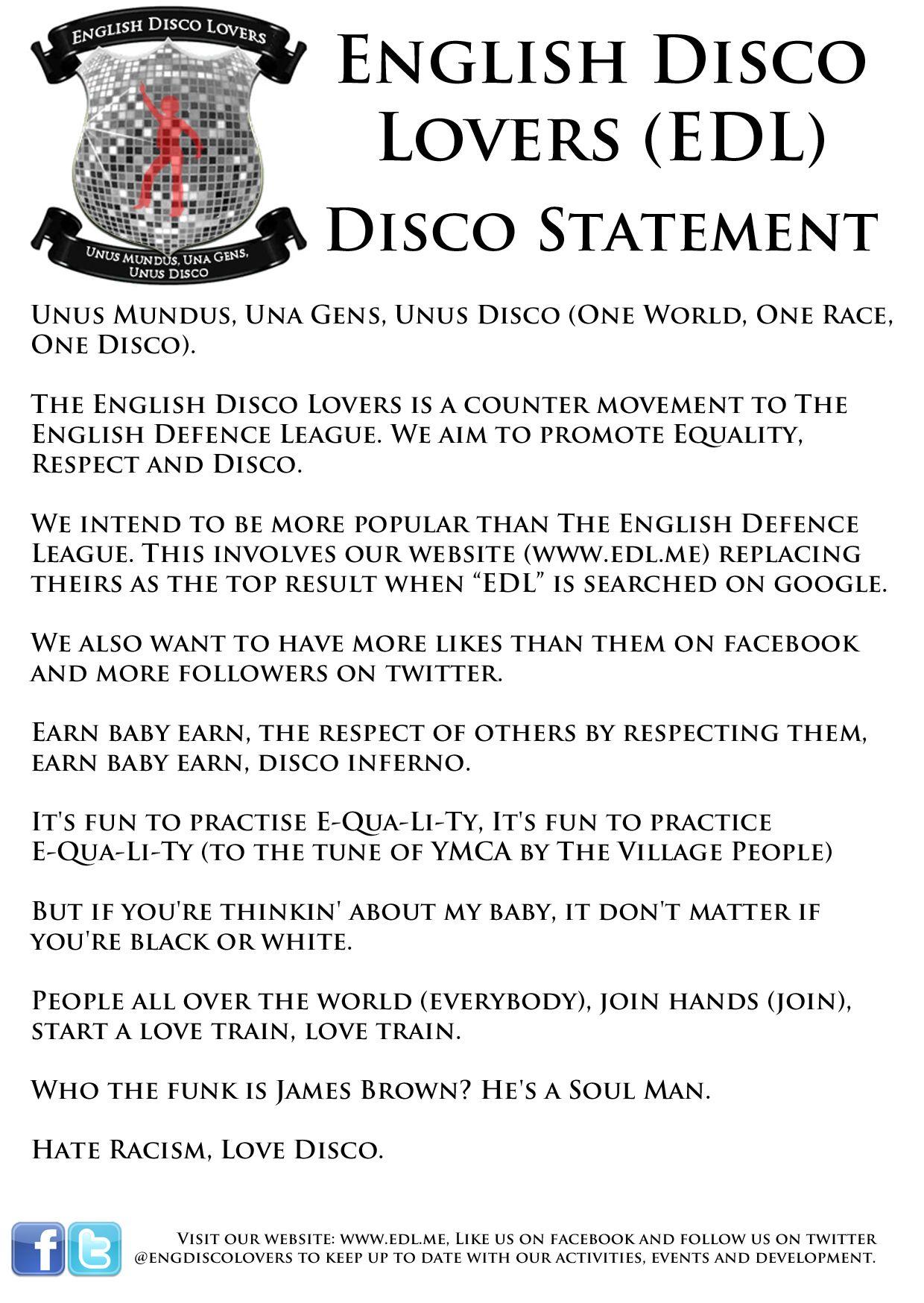 EINMALIGE VERWENDUNG The English Disco Lovers